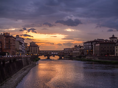 Sunset (memfisnet) Tags: italy florence sunset river city clouds buildings travel olympus bridge