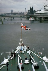 Bow view from HMS Belfast 1977 (D70) Tags: bow view from hms belfast 1977 townclass light cruiser royal navy permanently moored museum ship river thames london imperial war fzuiko autos 38mm f18 canoscan 8600f