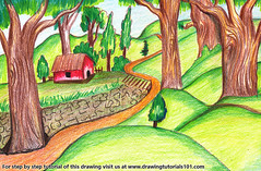 Forest Scene (drawingtutorials101.com) Tags: forest scene scenes forests color pencils sketch sketches sketching draw drawing drawings colors coloring how speed