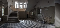 Chessfloor (Graceful Decay) Tags: abandoned architecture asylum building canon decay decayed derelict deserted deutschland door entrance eos floor forgotten forsaken gracefuldecay heilstätte history historic lost old orange panorama stairs staircase stairway sanatorium treppe urbex vergessen verlassen wall windows peelingpaint
