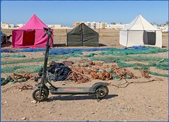 Let's buy a tent (mhobl) Tags: tents market tent nets sidiifni moroc escooter wizzard morocco