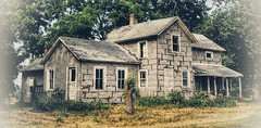 neighbors... (BillsExplorations) Tags: neighbors abandoned abandonedhouse abandonedillinois decay ruraldecay forgotten shuttered neighborly binghamptonil tree neglected oncewashome