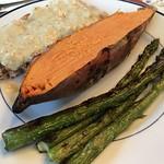 Grilled salmon, sweet potato, asparagus thumbnail