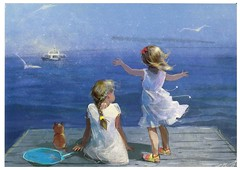 Painter Katerina Babok from LenaVD (elligerra) Tags: katerinababok children thesea postcrossing postcard