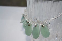 Trans. necklace w/Crystals (Bits of Clay) Tags: translucent necklace handmade teal beads original ooak