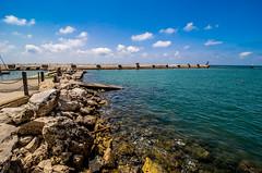 OVERSEAS (Michael Leshets) Tags: pier horizon over water beach seascape bay coastal feature sea clouds blue sky port rocks jaffa israel