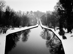 Chirk canal basin (joshdgeorge7) Tags: wales engineering victorian contast black white film ilford canal canals boat glass xp2 tunnel chirk welsh cold february mirror geometric