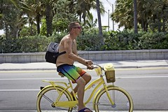 Sagger on yellow bike (LarryJay99 ) Tags: shirtless legs profile hairy hairylegs belly peekingnipples peekingpits flipflops toes barefuss barefoot foot feetshot yellow