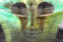 Lucid dreaming (CaBAsk! on and off. Thank U for the visit ♥) Tags: olympus art digital photoshop layers under water bubbles face dream surreal lucid atlantis imagination light dark eyes