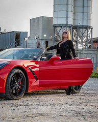 How to Work It! (Skip Cox) Tags: convertible corvette model vette hiram georgia unitedstates us chevy stingray torch red c7 topless black sexy hot cool fast z51 z06 automotive photographer blonde heels babe girl women