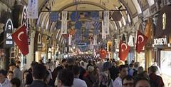 The Grand Bazaar of Istanbul (Friedrich Kundera) Tags: nofilter grandbaazar bazar market turkey türkiye people city citylife flags architecture jewelry travel nikond3300 decoration corridor life