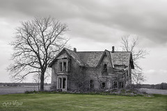 Growth and Decay (wilbias) Tags: rural decay county ontario canada black white green spring house abandoned kent chatham