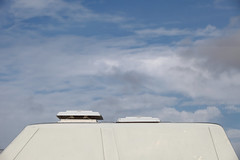 Venting (Elios.k) Tags: horizontal outdoors nopeople car camper bulli volkswagentype2 vwt3 westfalia oldtimer campervan roof skylight vent openvent top sky clouds cloudy fluffyclouds bluesky colour color travel travelling july2017 summer vacation roadtrip canon 5dmkii photography wissant pasdecalais hautsdefrance france europe