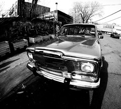Bushwick Wagon (MassiveKontent) Tags: vintage car bushwick streetphotography bwphotography streetshot gopro fisheye bw contrast city monochrome urban blackandwhite streetphoto shadows nyc newyorkcity street retro road windshield stationwagon newyork america brooklyn