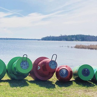 It's now official, spring is here! Bouys being placed for boating navigation in Lake Huron. #coastguard #bouys #lescheneauxislands #lescheneaux