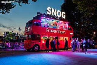 SNOG Frozen Yogurt bus on The South Bank.