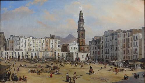 """""""La Place Masaniello à Naples"""", Jean-Auguste Bard (1812-1862), Musée des Beaux-Arts, Pau, Béarn, Pyrénées Atlantiques, Aquitaine, France."""