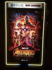 Avengers:Infinity War (BarryFackler) Tags: kona hawaii regaltheaters regalkeauhou7theaters sign ad advertising movie poster avengersinfinitywar marvelcinematicuniverse ironman thor spiderman captainamerica thehulk loki scarletwitch blackwidow blackpanther warmachine rocketracoon starlord mantis nebula wintersoldier drax doctorstrange falcon okoye theavengers keauhoushoppingcenter kailuakona northkona guardiansofthegalaxy 2018 bigisland barryfackler barronfackler hawaiiisland hawaiicounty hawaiianislands sandwichislands cinema groot shuri vision infinitygauntlet gamora