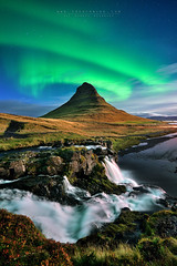 When angels touch the sky (FredConcha) Tags: iceland kirkjufell nature landscape fredconcha night stars northernlights aurora waterfall cliffs rocks mountain volcanic river nikon d800 lee filters friends voyage touristic