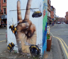 The Bees of Manchester (Tony Worrall) Tags: bees manchester gmr street urban streetart paint painted wall show urbanart daub made graffiti manchesterstreetart event summer city england regional region area northern uk update place location north visit county attraction open stream tour country welovethenorth nw northwest britain english british gb capture buy stock sell sale outside outdoors caught photo shoot shot picture captured