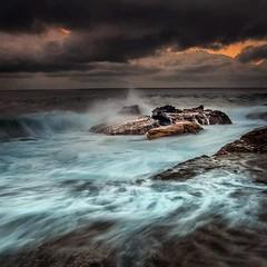 Dark skies, angry sea. (Chopper267) Tags: water sea ocean longexposure rocks morning