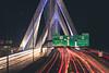 Zakim Bridge Lights (austinfloyd) Tags: boston ma massashusetts zakim bridge bunker hill td garden highway 93 interstate freeway lights traffic sign