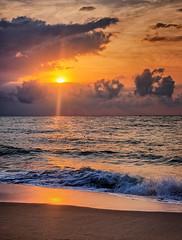 Early morning, Thailand (Vest der ute) Tags: xt20 thailand sea seascape sunrise sunbeams water waves reflections sky clouds earlymorning sand beach softlight fav25 fav200
