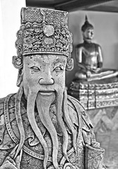 temple statues (poludziber1) Tags: street streetphotography summer city cityscape capital statue bangkok thailand travel urban temple blackwhite