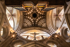 Wells   |   Cathedral Crossing (JB_1984) Tags: wellscathedral cathedral ceiling vaultedceiling cross crucifix crossing organ pipeorgan architecture pattern symmetry wells mendipdistrict somerset england uk unitedkingdom nikon d500 nikond500