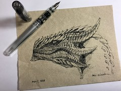 Friday napkin dragon (schunky_monkey) Tags: fountainpen penandink ink pen illustration art drawing draw sketching napkinsketch sketch napkin creature mythical firebreathing dragons dragon