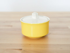 Mid-Century Sugar Jar (.godo) Tags: vintage etsy yellow kitchen jar dish container bathroom storage organization mcm midcenturymodern atomic geometric linear cottage shabbychic 50s 1950s 60s 1960s madmen spaceage eames rockabilly diner cafe antique canister ceramic