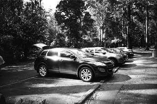 Parking lot in black-and-white