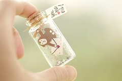 You Me Oui ! Tiny message in a bottle,Miniatures,Personalised Gift,funny Love Card,Valentine Card,Gift for her/him,Girlfriend gift, birthday card, holiday card and miniatures card ideas (charles fukuyama) Tags: monkey greeting card handmadecard greetingccard paper unique glitter custommade bottle tiny messagecard cuteanimals homedecor deskdecor lovecard kikuike