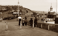 Pier Approach, Bournemouth (footstepsphotos) Tags: bournemouth hampshire dorset coast resort pier approach people car old photograph vintage past historic footsteps