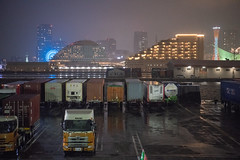 Port of Kobe (Hideki Iba) Tags: sea night light rain rainy nikon d850 2470 container tower truck