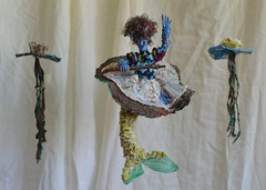 La Sirena (Danny W. Mansmith) Tags: handmade oneofakind lasirena mermaid fabric posable wire reuse sewing fiberart doll figure sculpture magic dannymansmith burienwashington water colorful patchwork