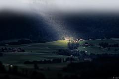 Illuminated (LeWelsch Photo) Tags: illuminated church kirche eglise landscape bokeh hill cloud rural field green vorderfultigen falkenacker rüeggisberg bern switzerland a6000 ilce6000 lewelsch lewelschphoto