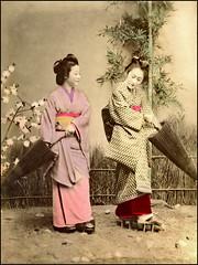 Two Geisha (ookami_dou) Tags: vintage japan handcolored albumen geisha kimono 着物 geta 下駄 umbrella