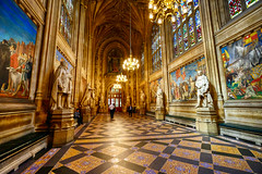 Parliament in London, United Kingdom (` Toshio ') Tags: toshio london uk unitedkingdom england europe european westminsterpalace palace hall parliament housesofparliament people interior history fujixt2 xt2 stainedglass statue patterns