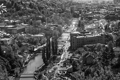 Sarajevo (Laszlo Horvath.) Tags: sarajevo city nikond7100 monochrome blackwhite blackandwhite bw town river nikon50mmf18g sunset