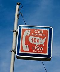 Pay Phone Sign, Lumberton, NC (Robby Virus) Tags: lumberton northcarolina nc pay phone broken telephone long distance call anywhere usa coin calls sign signage ten cents dime