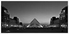 Musee de Louvre at Night / Paris, France (Andrew James Howe) Tags: paris museedelouvre louvre mono blackandwhite
