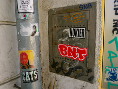 Graffiti in Ljubljana 2017 (kami68k -all over-) Tags: ljubljana 2017 graffiti illegal bombing sticker streetart street art nokier bnt cats