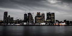 Evening over the Thames (Jonathan Vowles) Tags: thames london river water canary night skyline offices selective