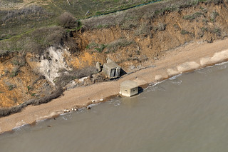 Pillbox on the beach at Bawdsey in Suffolk - aerial