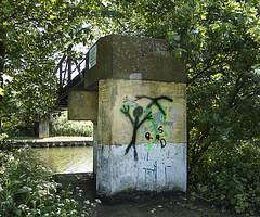 Bridge over River Lea Navigation (London Less Travelled) Tags: uk unitedkingdom england britain london enfield bridge river lea graffiti water trees green