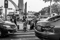 Waiting at the Crossing (cdawson77) Tags: china street people bw blackwhite monochrome mono crossing chris dawson olympus microfourthirds mft m43 panasonic 25mmf17 lumixg25f17 pen epl3