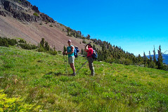 Jason and Ron in the high meadows (Ken Zaremba) Tags: cascademountains geography goatrockswilderness group jason northamerica outdooractivities outdoorsports ron snoqualmienationalforest travelers unitedstates washington washingtonstate backpacking camping hiking meadow travel yakima geo:state=washington geo:lat=46499957944445 geo:country=unitedstates geo:city=yakima geo:location=unnamedroad geo:lon=12138926983333