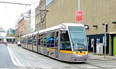 LUAS Dublin: Red Line 3010 westbound on Abbey Street Lower at Marlborough Street (Mega Anorak) Tags: tram tramcar trolleycar streetcar luas dublin redline alsthom citadis 40meter