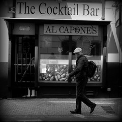 Al Capone Prague (thestourman) Tags: man cap street prague czech al capone walk black white photography fujifilm